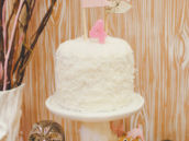 rustic woodland party coconut cake