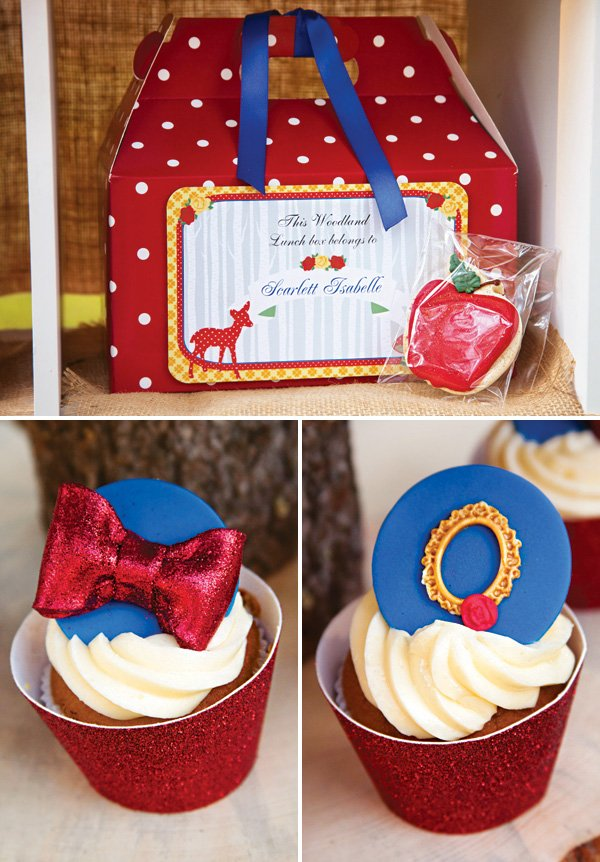 woodland party lunch box and cupcakes