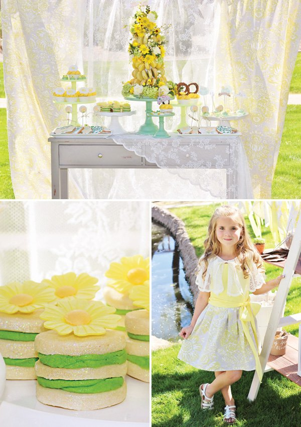 yellow floral dessert table