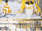 yellow-gray-chevron-party-table