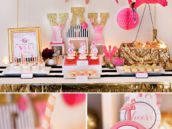 Flamingo Party Dessert Table - Pink and Gold