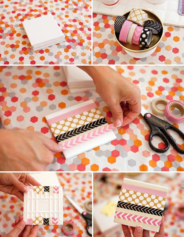 DIY Washi Tape Coasters Craft Tutorial