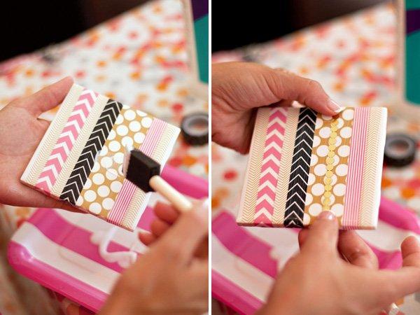 DIY Washi Tape Tile Coasters