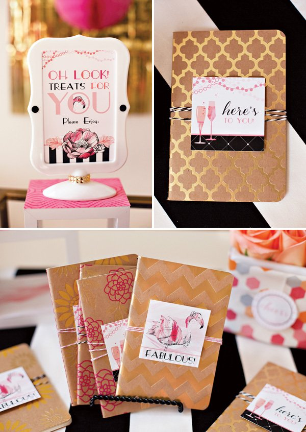 Flamingo Party Favors Tags and Favors