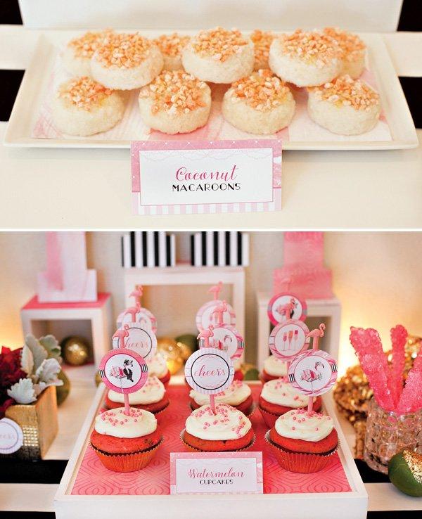 Flamingo Desserts - Watermelon Cupcakes & Coconut Macarons