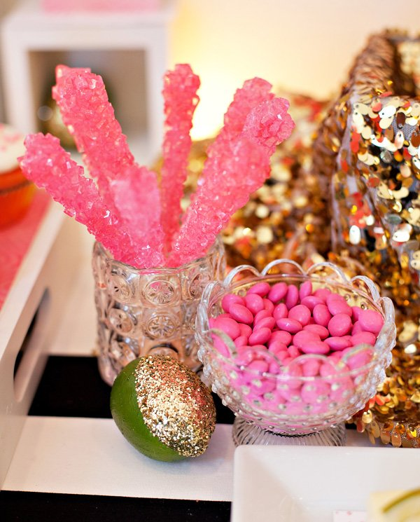 Pink Rock Candy Sticks and Chocolates