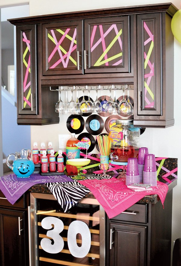 Born in the 80s neon 30th birthday party hostess with for 80 s table decoration ideas