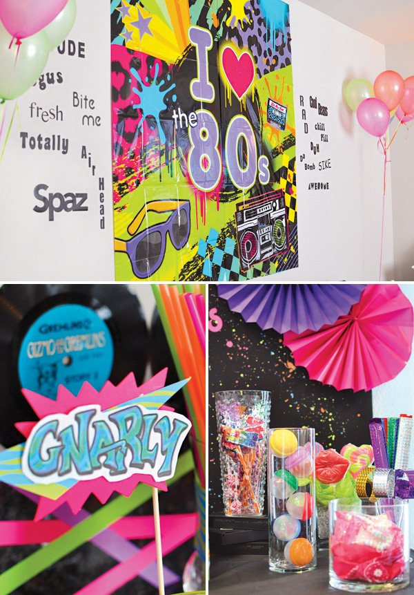 80s party slang word decorations