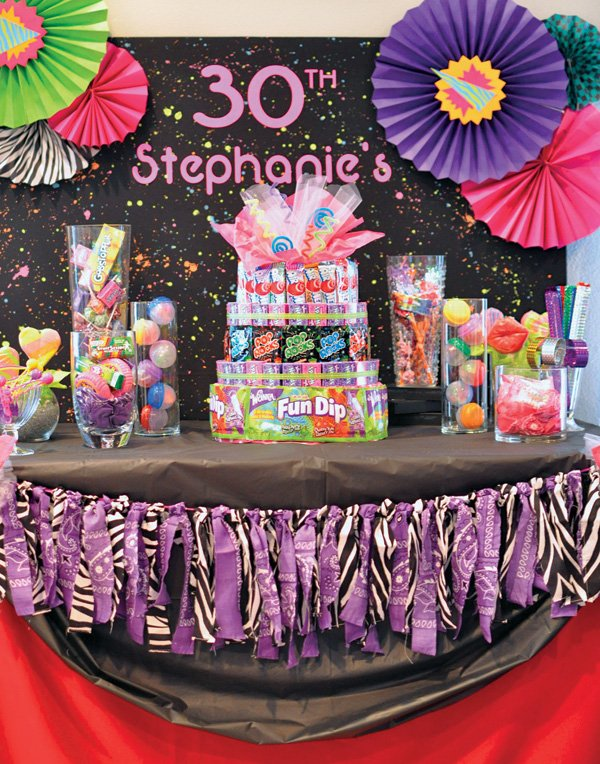 80s themed 30th birthday party dessert table