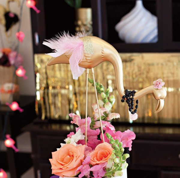 Pink and Gold Flamingo Centerpiece
