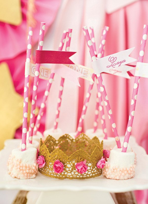 DIY gold lace crown with pink flowers