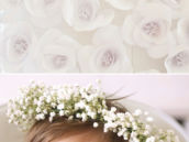 DIY large white paper flowers backdrop and DIY baby's breath head wreath