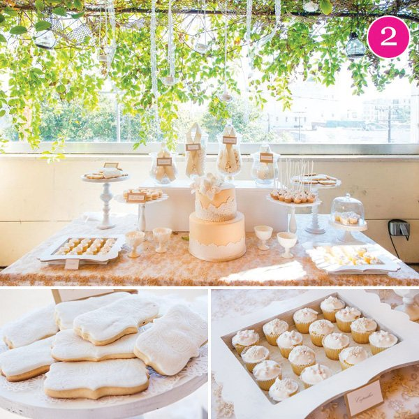 ivory & lace dessert table