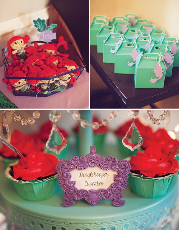 ariel birthday party favors and dinglehopper cupcakes