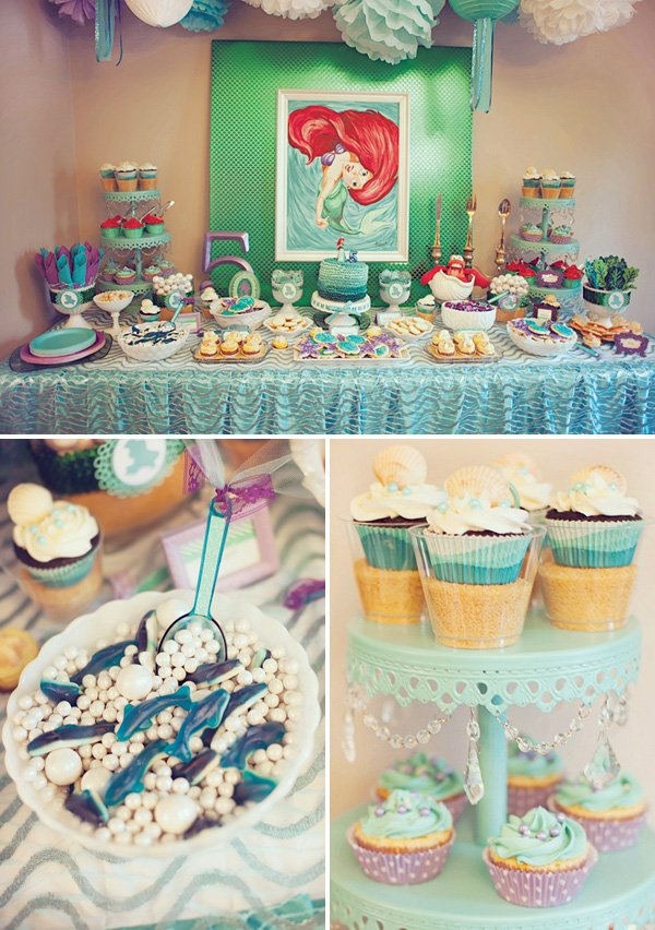 ariel themed little mermaid birthday party dessert table