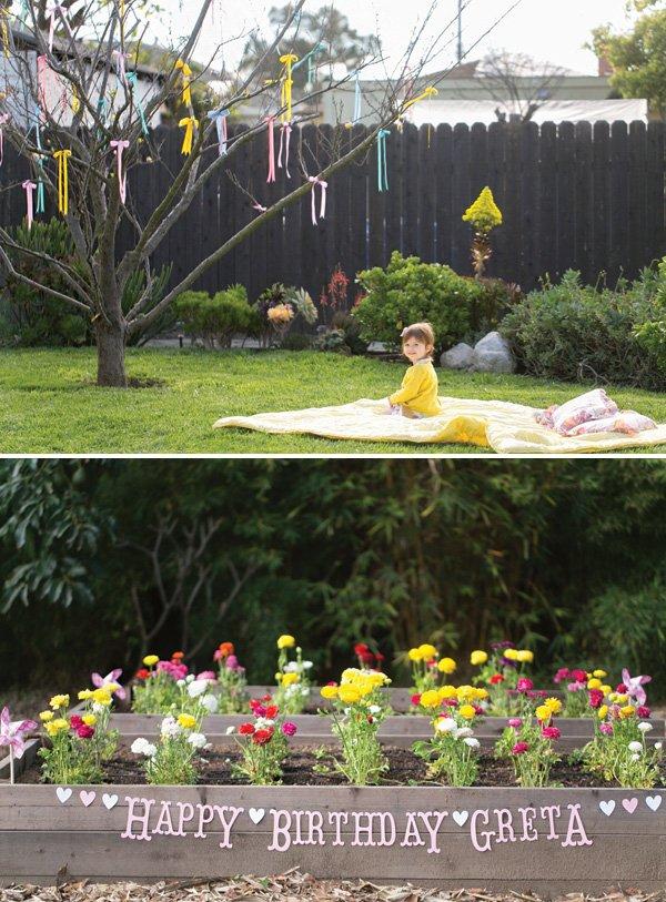 backyard garden 2nd birthday party