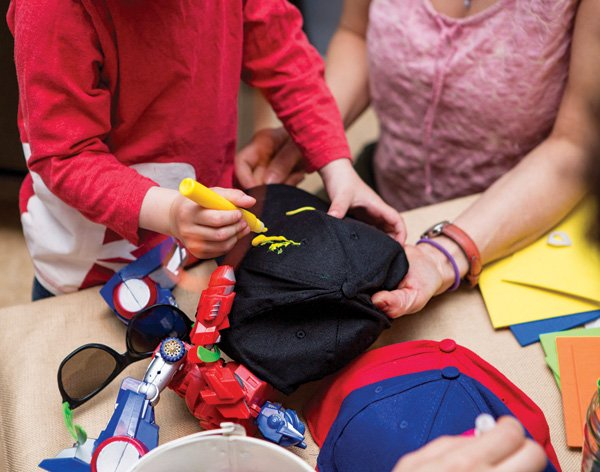 baseball hat decorating party activity