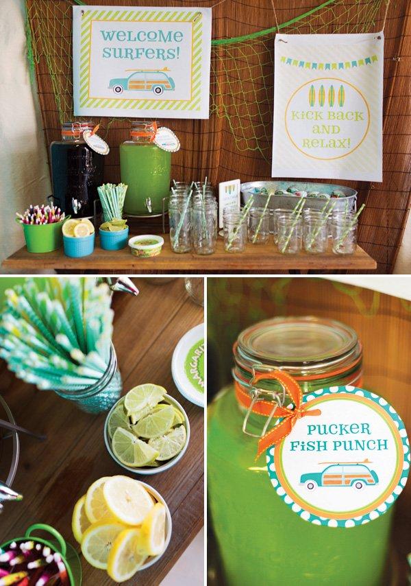 beach themed drinks table