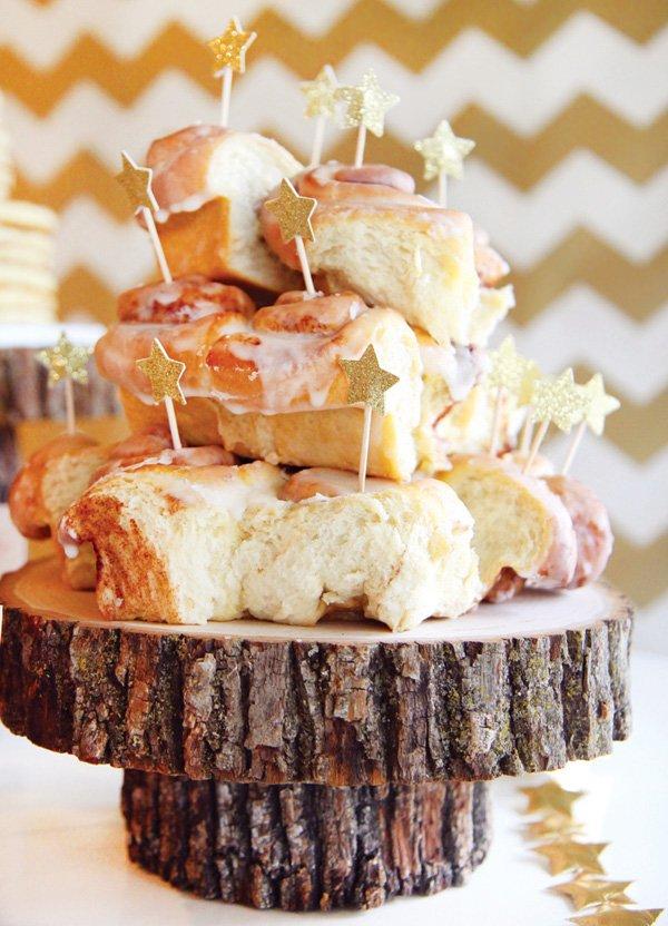 birthday party star topped cinnamon rolls