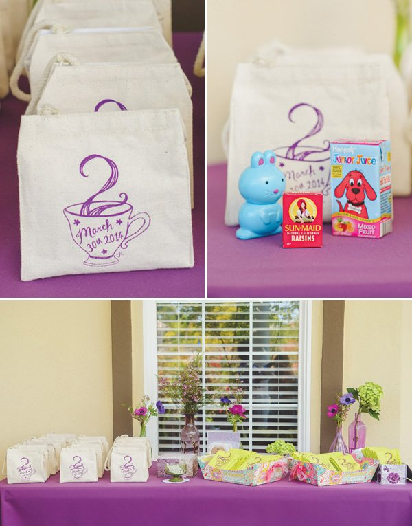 tea party birthday snack pouches