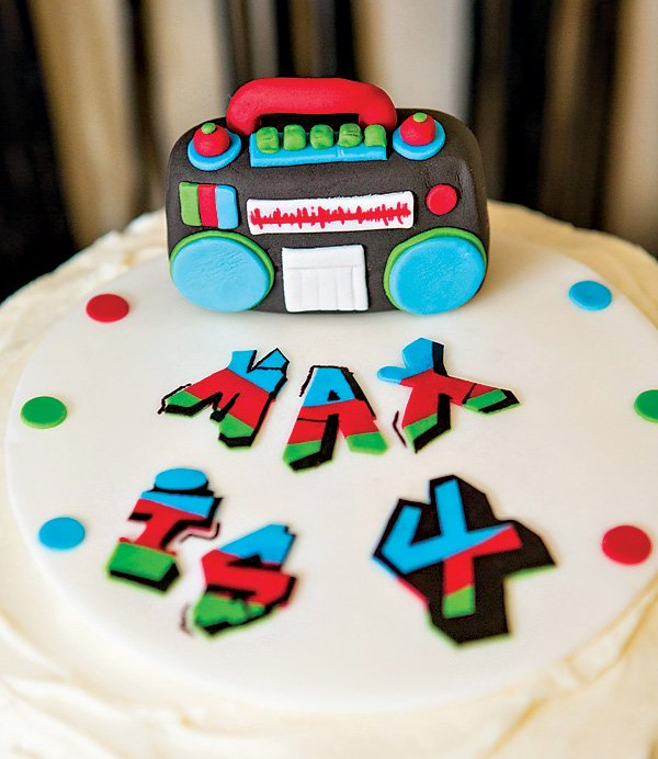 boombox topped birthday cake