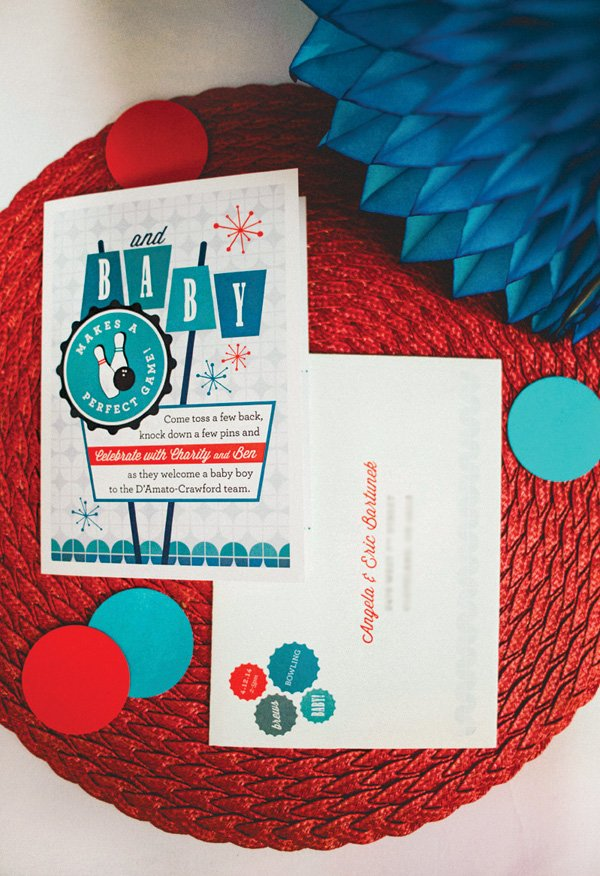 teal and red bowling baby shower invitation