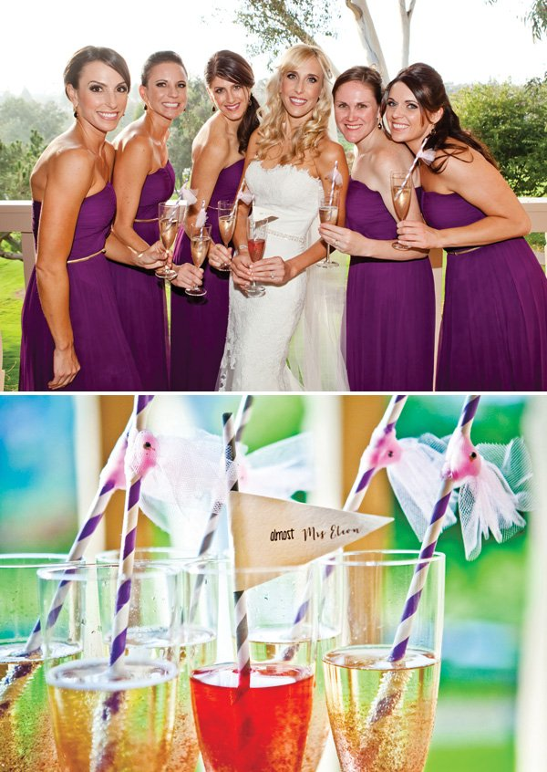 bridesmaids champagne toast with paper straws and mini lace veils