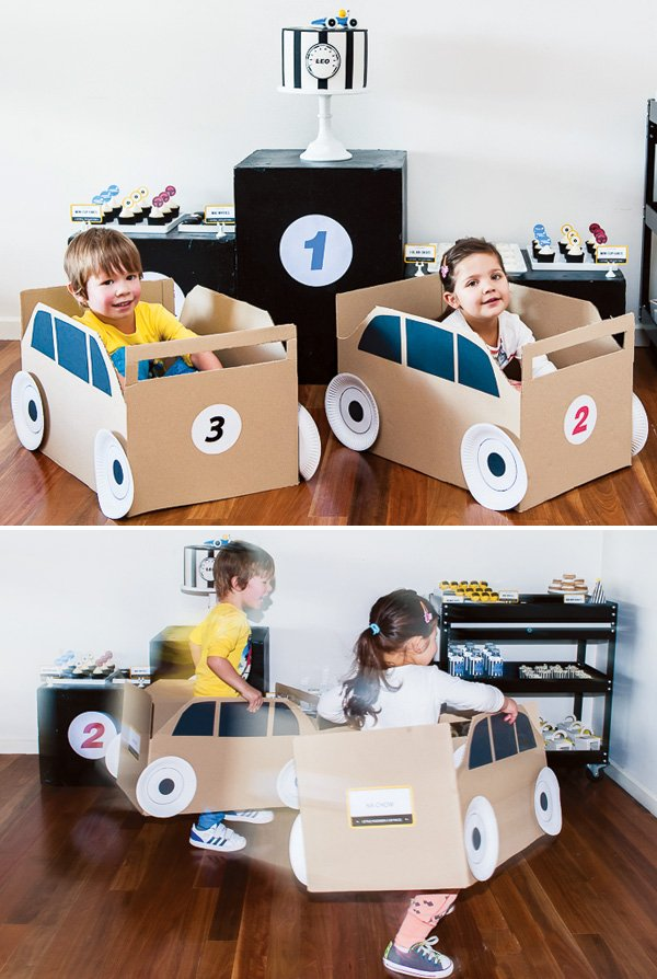 DIY cardboard race cars as a party activity