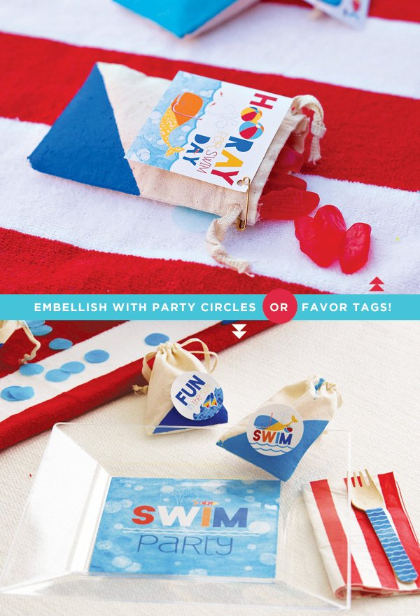 color blocked swim party favor bags with candy