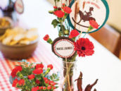 country western cowboy party floral arrangements with wheat