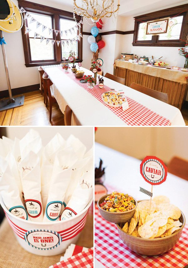 cowboy birthday party red gingham tablescape