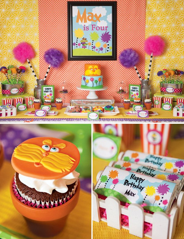 dr. suess lorax birthday party dessert table