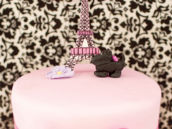eiffel tower topped birthday cake