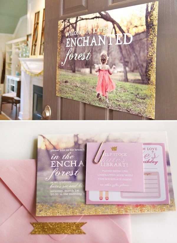 enchanted forest birthday party photo shoot and signs