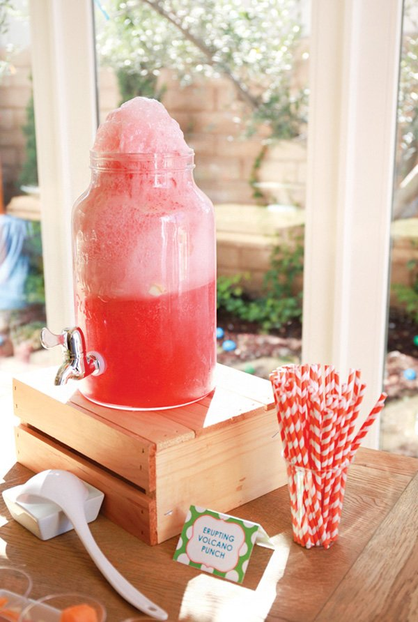 erupting volcano birthday party punch