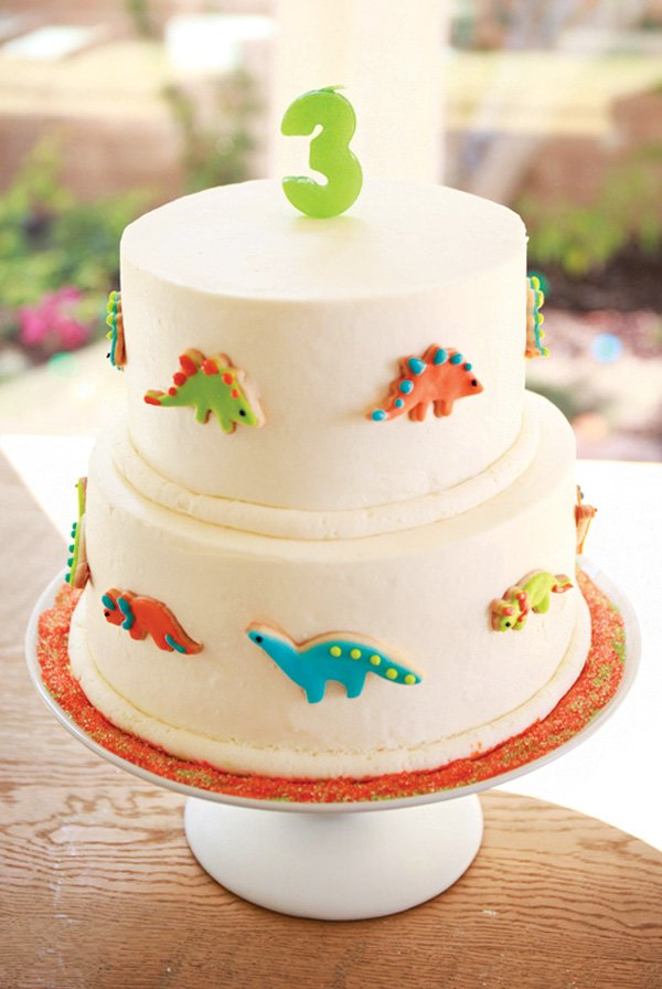 dinosaur cookie decorated birthday cake