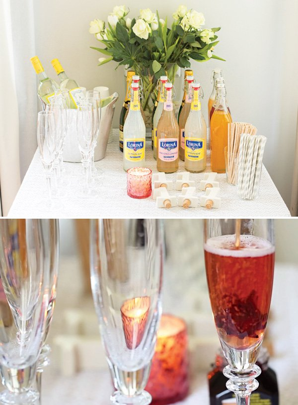 floral party drinks table