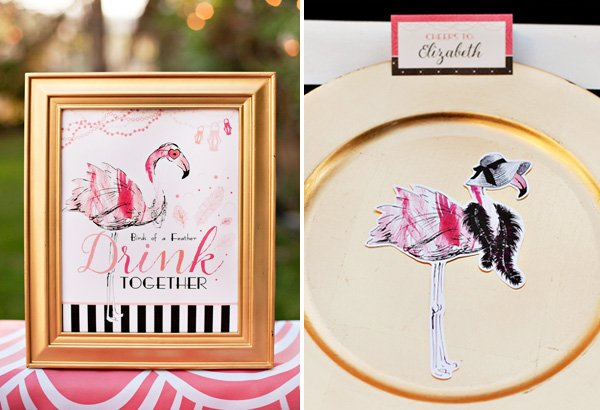 printable flamingo party sign and silhouettes