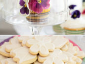fresh flower topped cupcakes and white flower cookies
