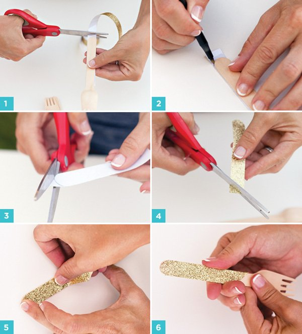 Glittered Forks Tutorial - Step by Step