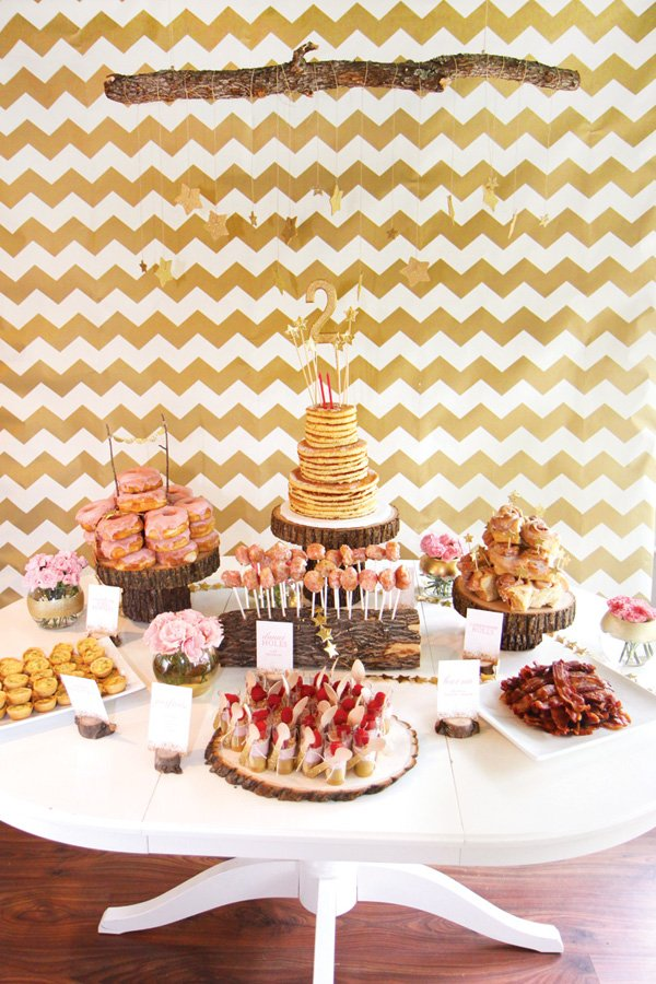 gold chevon birthday party dessert table