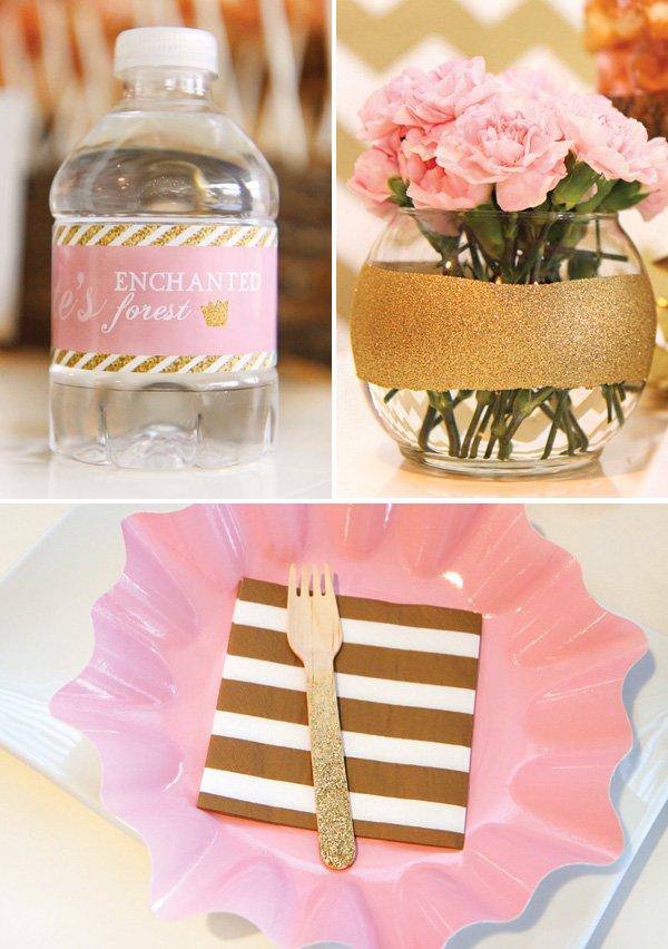 gold glitter birthday decoration ideas and DIYS