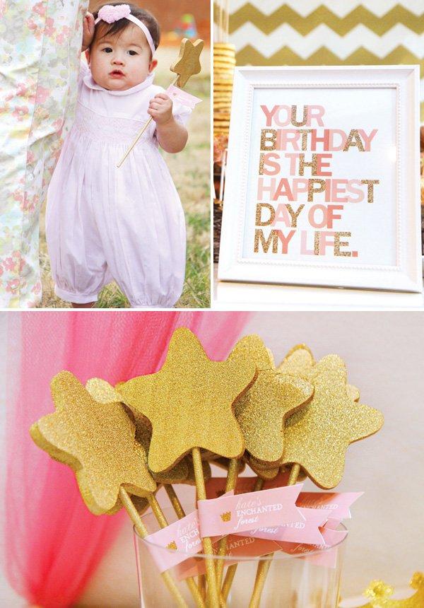 gold glitter star wands