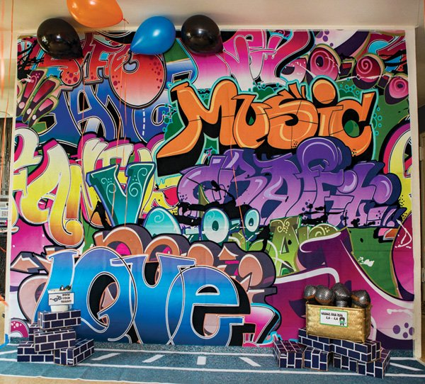 photo booth graffiti mural backdrop