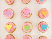 rainbow heart topped cupcakes