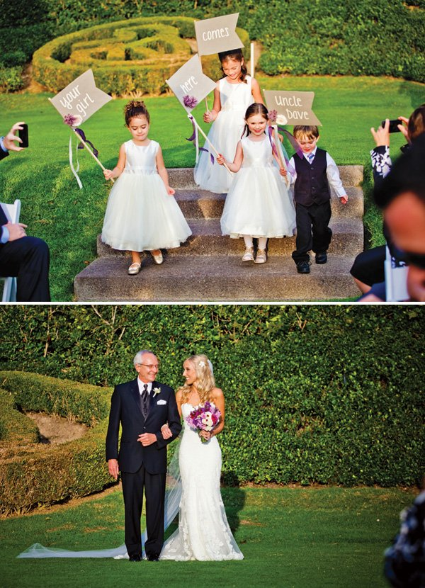 here comes the bride signs for the ring bearer and flower girls