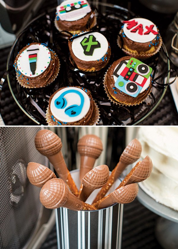 hip hop music cupcakes and chocolate microphones