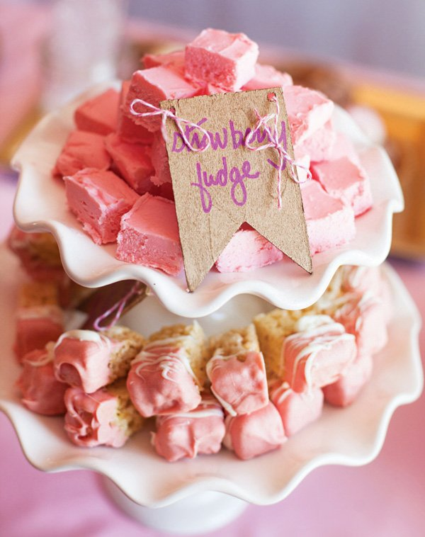 homemade pink strawberry fudge