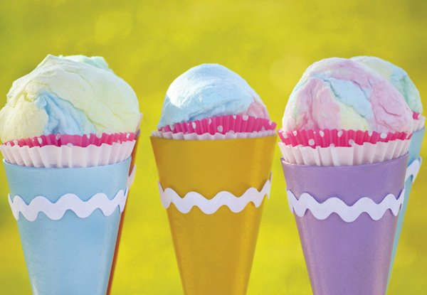 DIY ice cream cone cotton candy