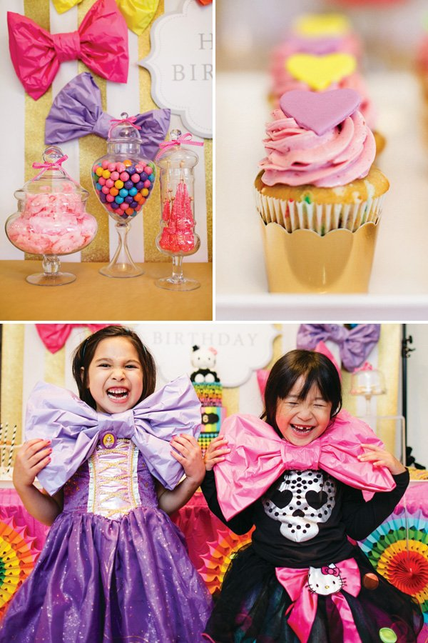 large tissue paper bows for a girly birthday party